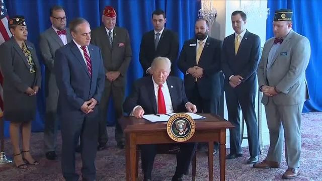 The president signed the VA Voice and Quality Employment Act in Bedminster New Jersey