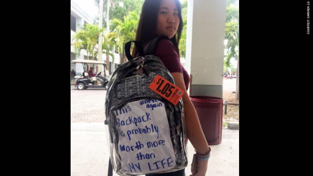 Clear backpacks handed out to students at Marjory Stoneman Douglas High School