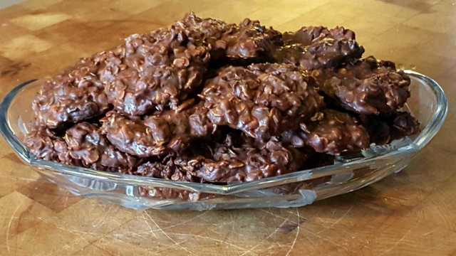 Double chocolate peanut butter no bake cookies