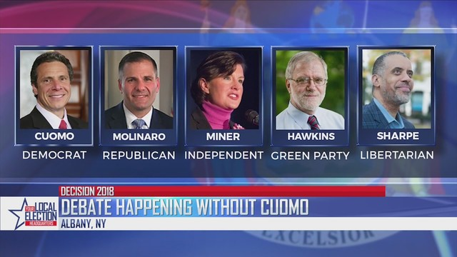 Candidates for NY governor spar in debate without Cuomo